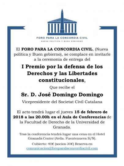"""Premio """"Por la defensa de los Derechos y las Libertades constitucionales"""" del Foro para la Concordia Civil 2017 a D. José Domingo Domingo, letrado de la Seguridad Social."""