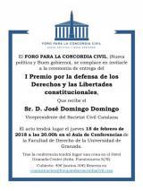 """542 Premio """"Por la defensa de los Derechos y las Libertades constitucionales"""" del Foro para la Concordia Civil 2017 a D. José Domingo Domingo, letrado de la Seguridad Social."""